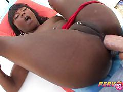 Ebony babe coffee brown enjoys a rough anal po...