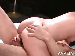 Screaming slut gets her tiny hairy twat banged in threesome