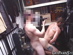 Gay amateur rides cock masturbation