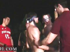 Skinny college twinks jack off each other at a party