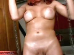Tranny in latex lingerie spreads her ass hole and tugs cock