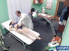 Petite babe takes double cumshot