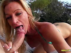 ceira roberts, blowjob, fucked, older, milf, cum, pussy, outdoor, outdoors, mom, hard, poolside, eating, eating out, fake tits, eating pussy, old, outside, sucking, blond