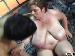 Huge boobs bbw riding young meat