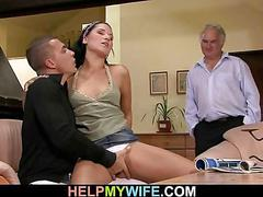 Hot young wife gets cuckolding surprise