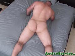 Muscled soldier jerking his cock