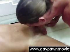 Blonde straight gets gay blowjob for pawn shop cash