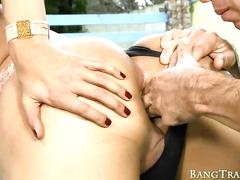 Booby shemale leticia yanoviti ass fucked at the veranda