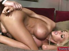 Busty shemale whore kimber james anal fucked on the couch