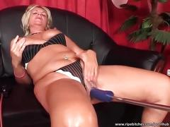 Nasty blonde fucks big dildo