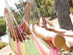 Dani and cherie fuck on the hammock