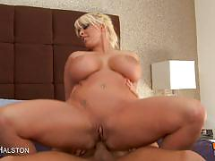 Busty blonde milf holly halston rides a hard c...
