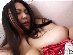 Racy gang bang for the busty japanese
