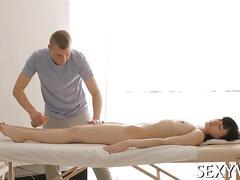 Big ass brunette has a hot time as shes massaged