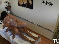 Asian babe gets impaled in a massage saloon
