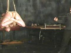 Suspended and whipped bdsm session is off the chain
