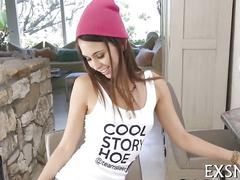 Cute and tiny riley reid shows off her big mouth