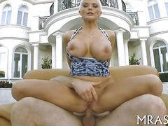 Blonde bitch has a fat dick stuck in her ass so deep