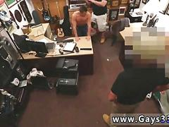 Sexy dude jerks off naked in a pawn shop for cash