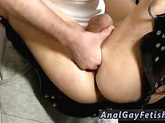 Twink gets his ass toyed in a sex swing