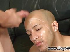 Cum covered dude sucks off dick in a gang bang
