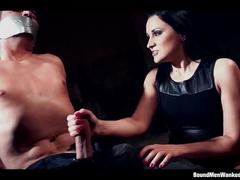 Clair brooks wanks chair-tied and tape-gagged guy