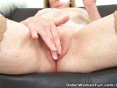 masturbation, toys, mature, british, olderwomanfun, granny, uk, milf, stockings, small-tits, blonde, clit-rubbing, fingering, vibrator, shaved, old