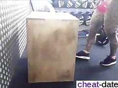 Blonde gym babe stretches out and teases on camera