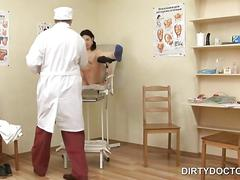 Nasty doctor testing teen