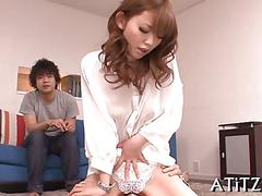 Trimmed asian chick pussy licked by two nasty guys