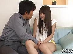 Asian teen fingered in her ass in a close up