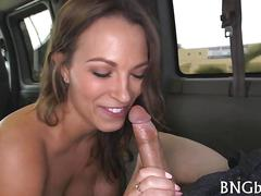 Babe with great tits sucking down dick in a car pov