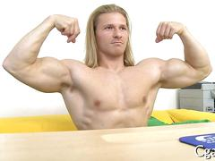 Long haired hunk shows off his muscles and fucks for casting