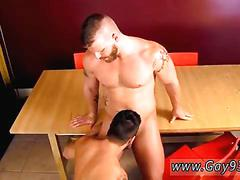 Bearded stud gets sucked off on a table