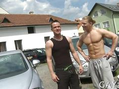 Outdoor session with some really randy hunks
