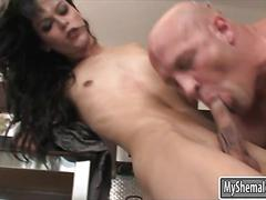 Skinny shemale domino presley anal pounded in the kitchen