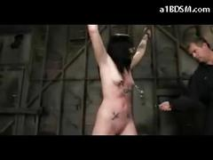 Blackhair girl is tickle tortured, whipped and vibed in a dungeon