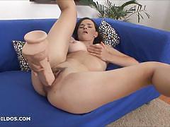 European brunette dildo fucks her warm pussy