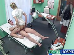 Randy nurse rides this hard cock
