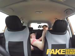 Fake driving school pigtail cutie with hairy teen pussy creampie after lesson