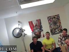 College pledges line up to suck dick in a dorm room
