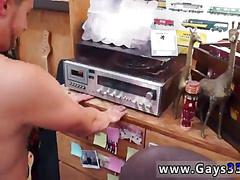 Hot stud jacks off for cash in a pawn shop