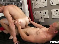 Blonde college jock gets his muscular ass nailed doggy style