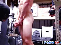 Hot gay dungeon master making his slave suck big cock