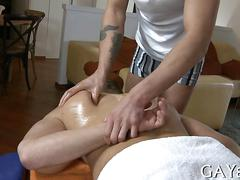 Straight stud bangs his cock loving massage therapist