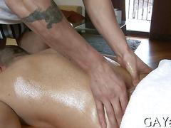 Straight stud bangs his cock loving massage therapist