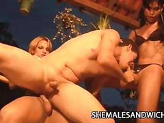 Carla renata and yris schimit - shemales gang banging a helples dude
