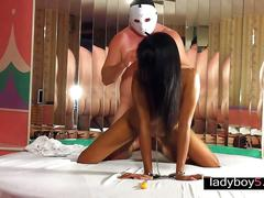 Asian ladyboy maleena kinky blowjob and doggystyle anal
