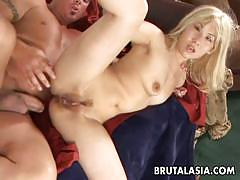 Blonde asian fucked hard and rough