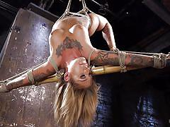 bdsm, vibrator, tattooed, blonde milf, suspended, upside down, fingering pussy, ball gag, nipple clamps, rope bondage, hogtied, kink, kleio valentien, the pope